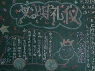 三月文明礼仪黑板报版面设计图