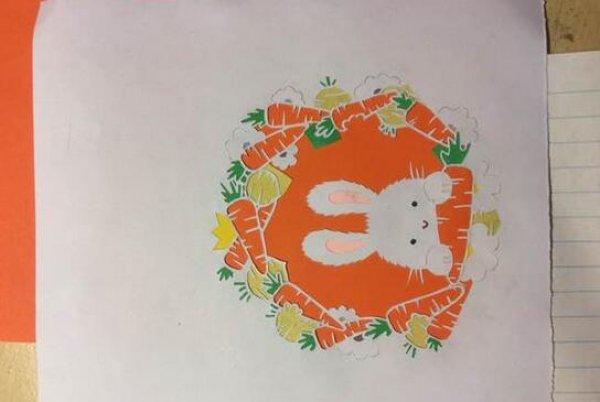 小兔子剪纸图案与图解教程