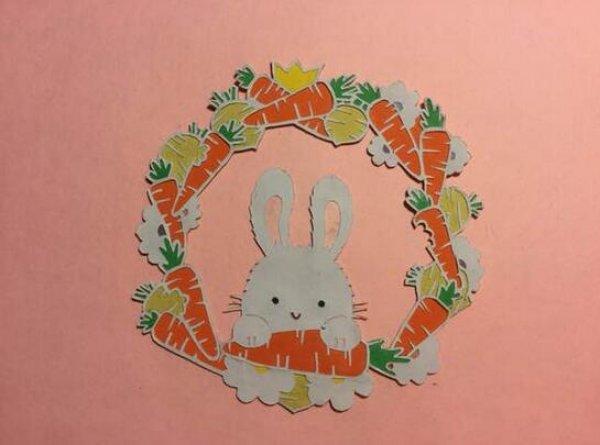 小兔子剪纸图案与图解教程_剪纸大全_手工制作大全
