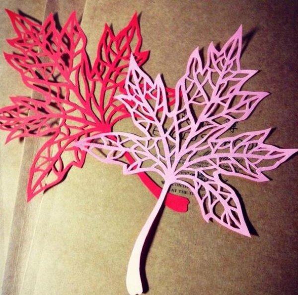 枫叶剪纸的艺术品,树叶剪纸的具体的方法步骤图片1图片