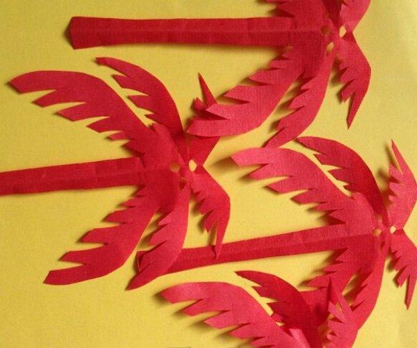 椰树剪纸图案与图解教程_剪纸大全_手工制作大全_中国
