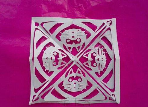 创意团花剪纸教程-有趣的小猫粽子图片5