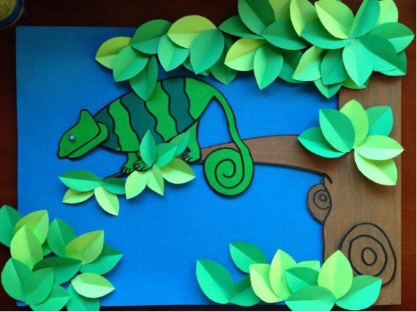 森林里的变色龙剪纸图案与图解教程图片