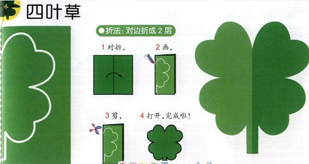 漂亮的四叶草剪纸图案与图解教程图片