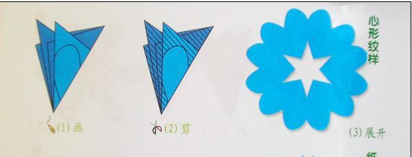 心形花瓣剪纸剪纸图案与图解教程