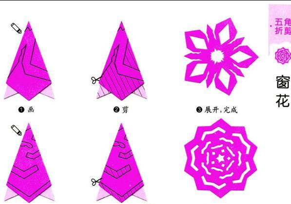 五角星窗花剪纸图案与图解教程