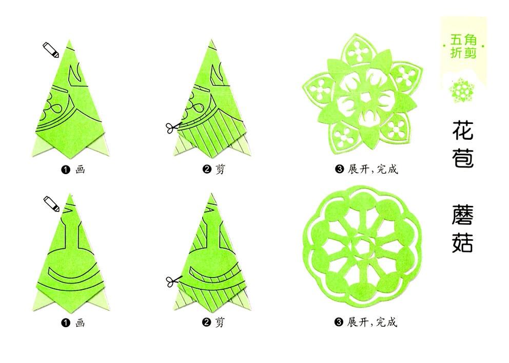 花苞,蘑菇蒲公英的剪纸图案与图解教程