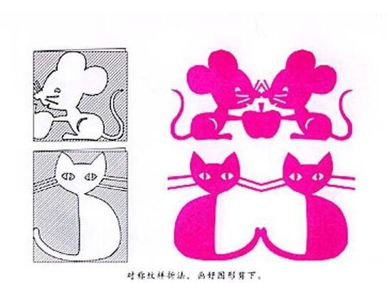 幼儿园对称纹样手工剪纸:猫和老鼠图片