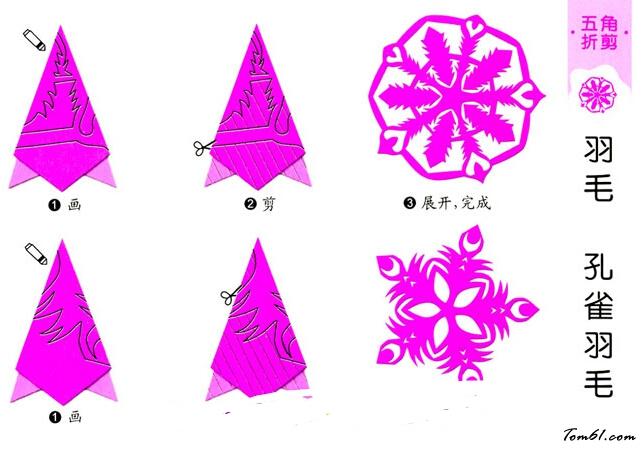 孔雀羽毛的剪纸图案与图解教程