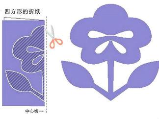 三色堇花剪紙圖案與圖解教程