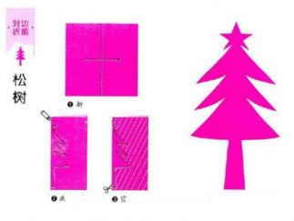 松樹的剪紙圖案與圖解教程3