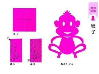 猴子的剪紙圖案與圖解教程2