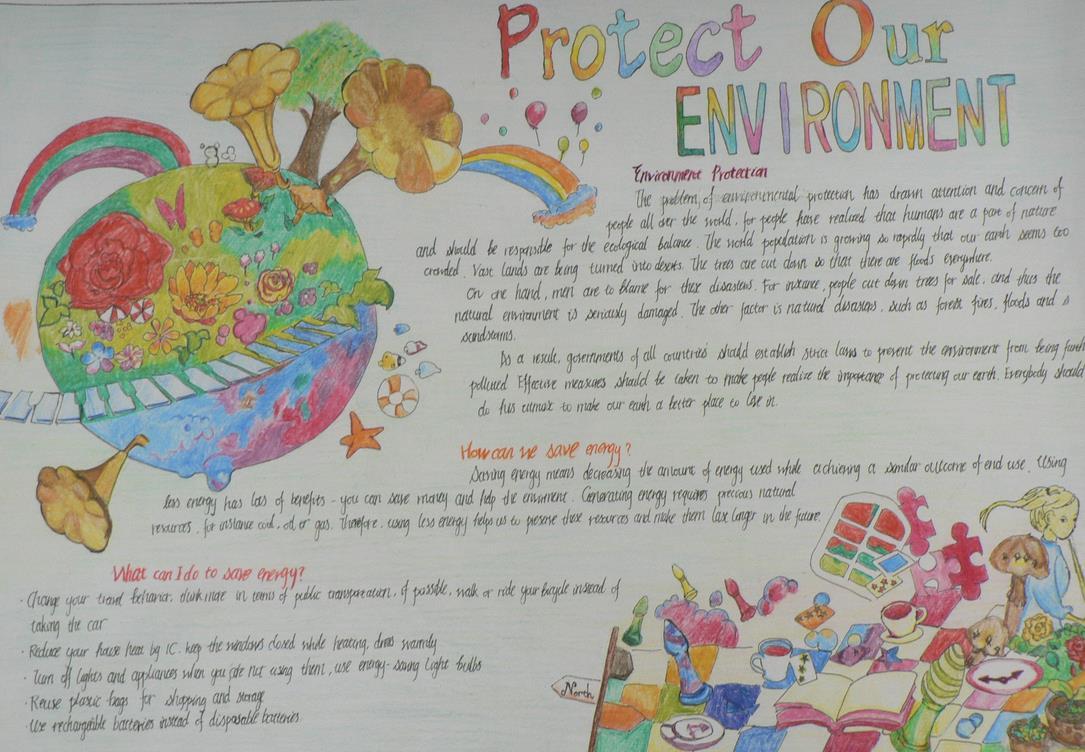 保护我们的环境手抄报版面设计图