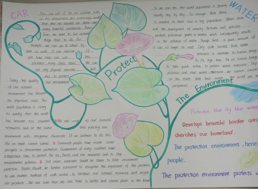 英语环保主题手抄报简单又漂亮-保护环境图片1