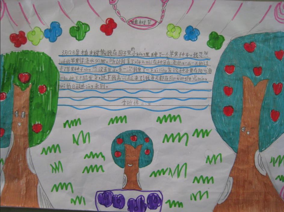 小学生植树节手抄报版面设计图一图片