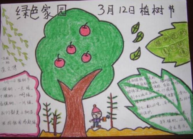 简单的植树节手抄报版面设计图一