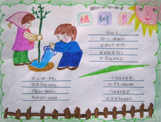 小学生植树节手抄报版面设计图二