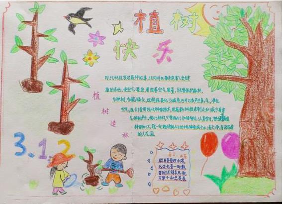 小学生植树节手抄报图片-植树快乐