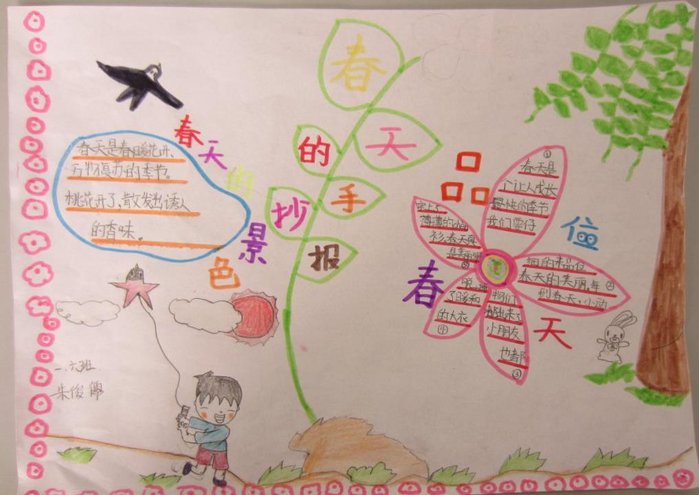 小学生春天主题手抄报版面设计图二