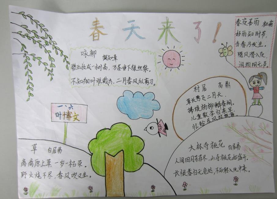 小学生春天手抄报版面设计图三