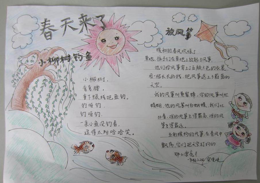 简单的小学生春天手抄报图片-放风筝图片1
