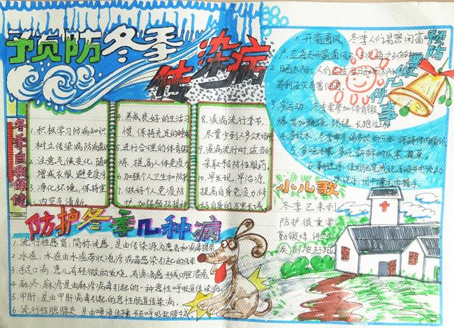 预防冬季传染病手抄报版面设计图图片