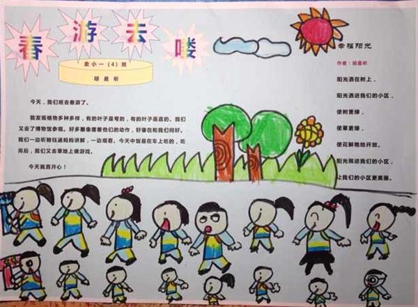 小学生春游手抄报版面设计图图片