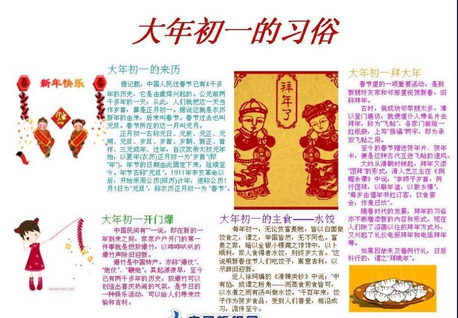 春节手抄报版面设计图一_手抄报大全_手工制作大全
