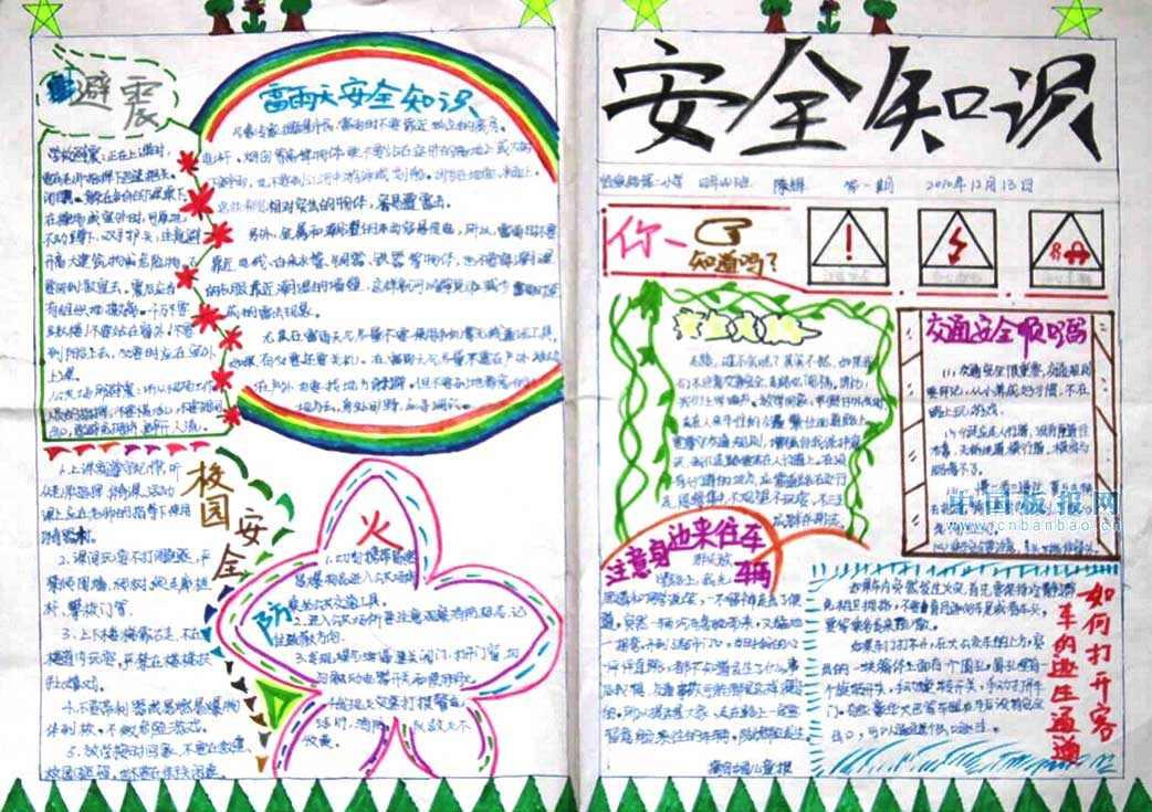 小学生安全知识手抄报版面设计图