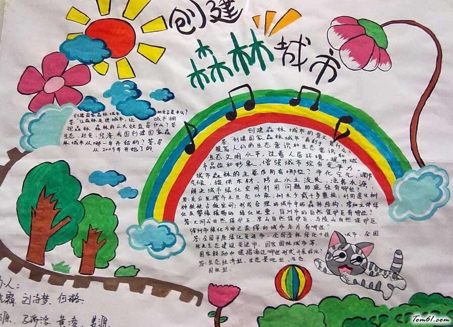 创森林城市手抄报版面设计图图片