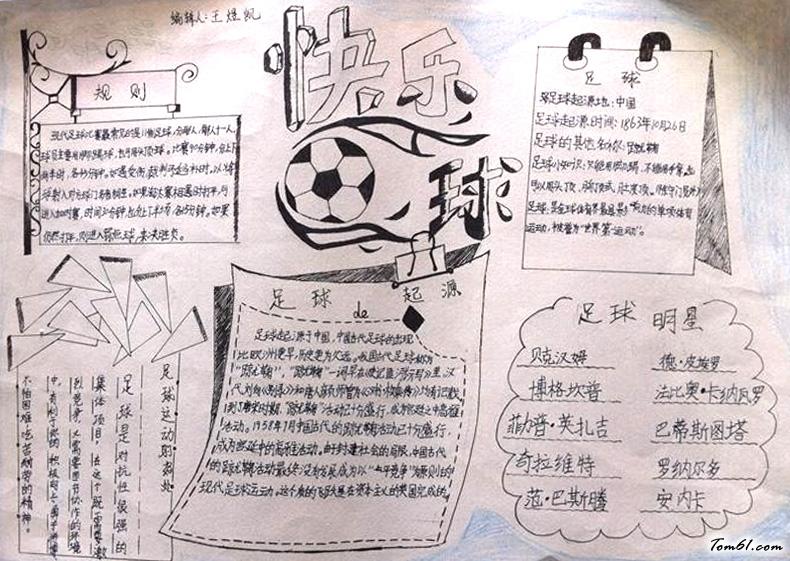 快乐足球手抄报模板,足球手抄报简单的,小学生快乐足球手抄报作品.