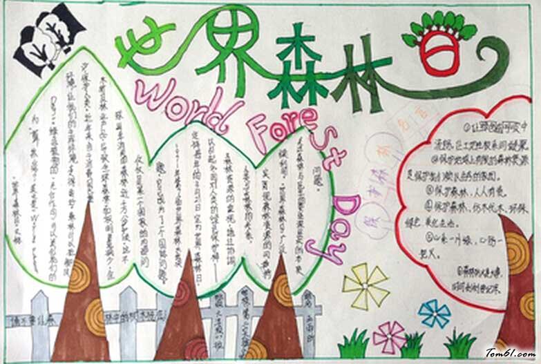 世界森林日手抄报版面设计图二图片