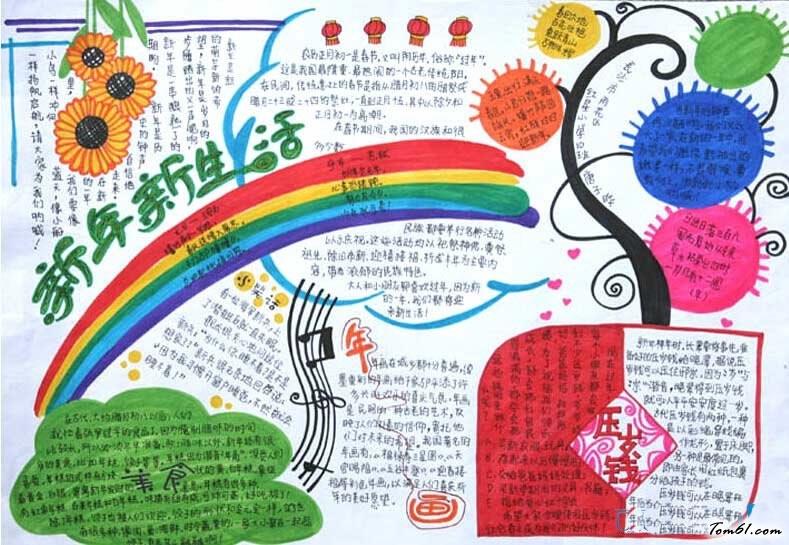 有关春节手抄报图片,2016年猴年春节的手抄报素材,版面简单又漂亮的有