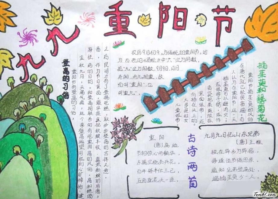 手抄报图片简单好看(图5)    每年的九月初九就是重阳节,大家知道有关