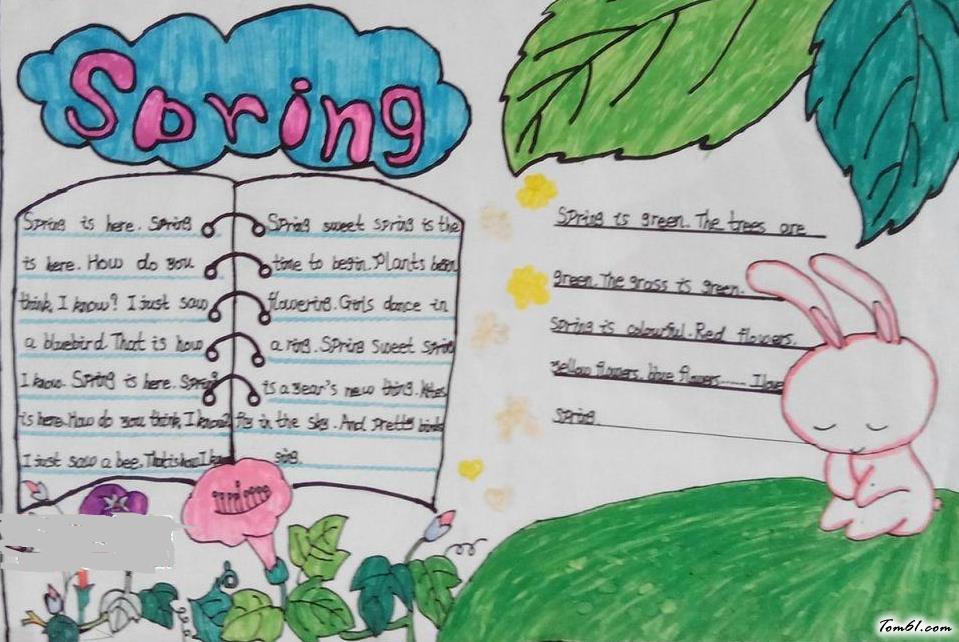 春天的英语手抄报版面设计图