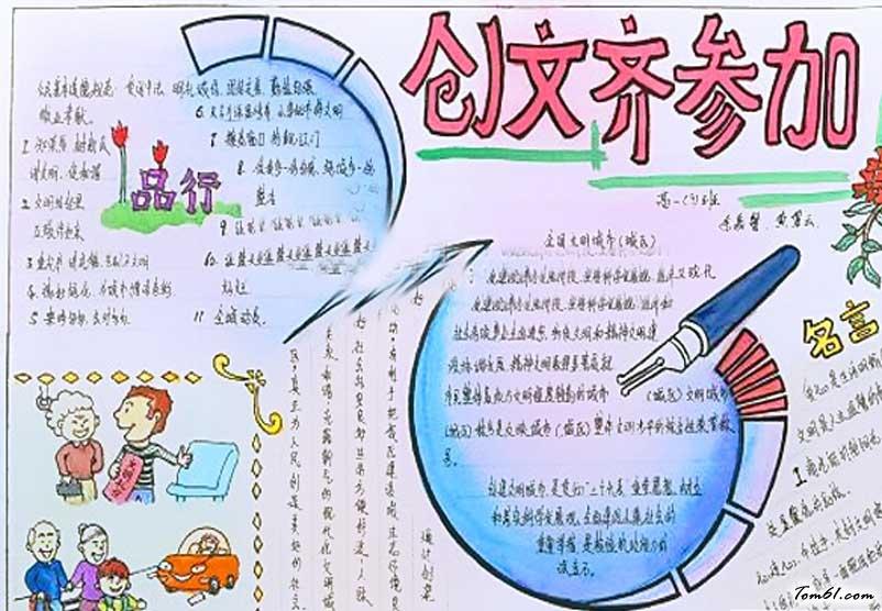 中学生创文手抄报版面设计图2图片