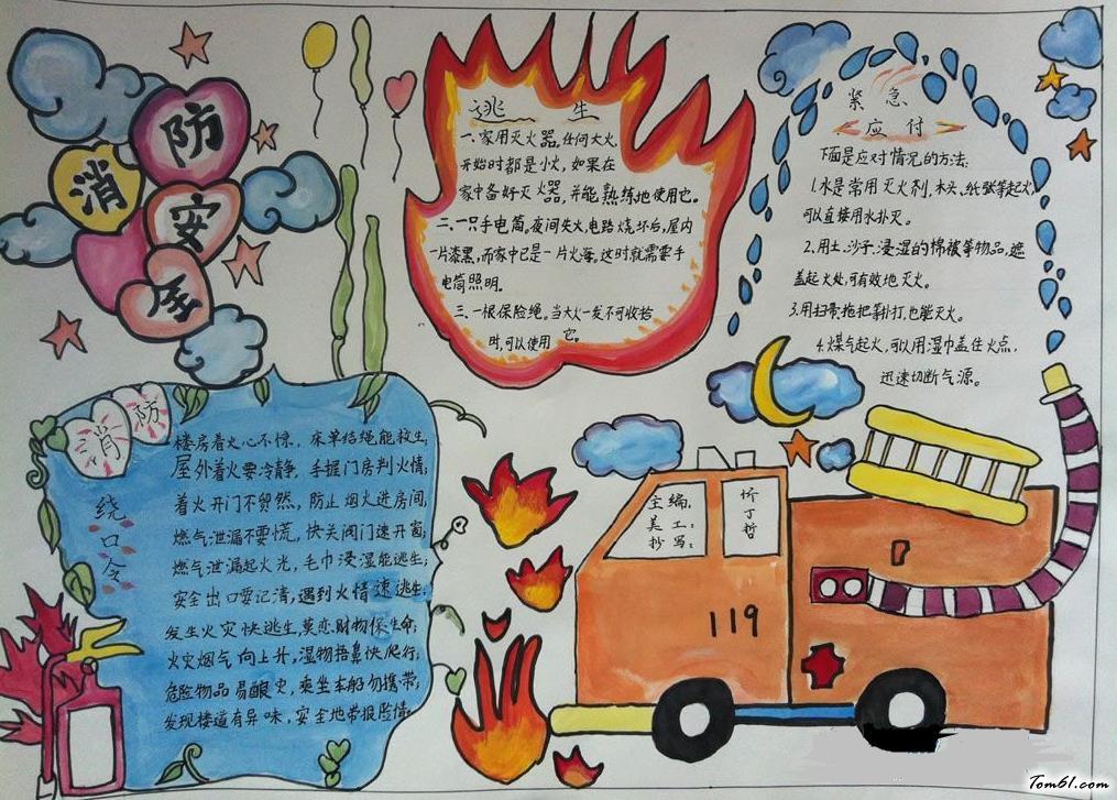 手抄报_精美的消防安全手抄报版面设计图