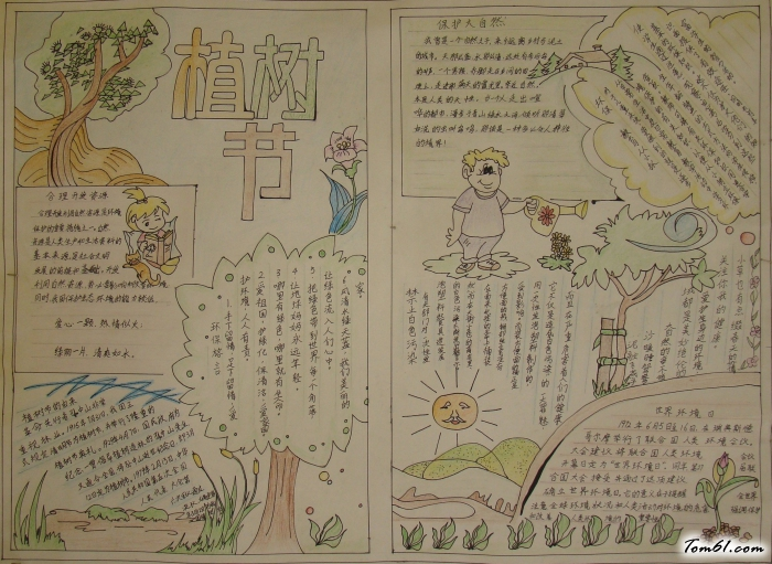 现在就让我们一起欣赏三年级植树节手抄报-世界环境日图片吧!