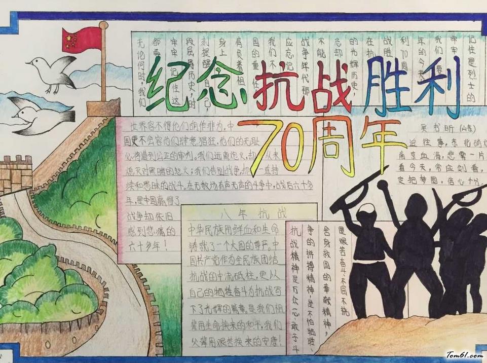 抗日战争手抄报版面设计图