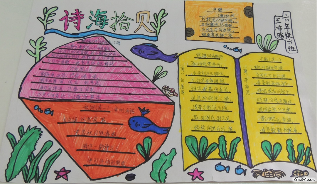 六年级诗海拾贝手抄报版面设计图