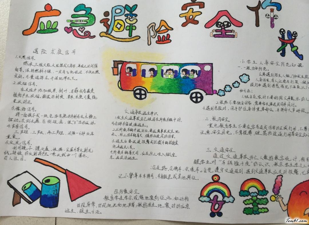 小学生三年级应急避险安全手抄报版面设计图