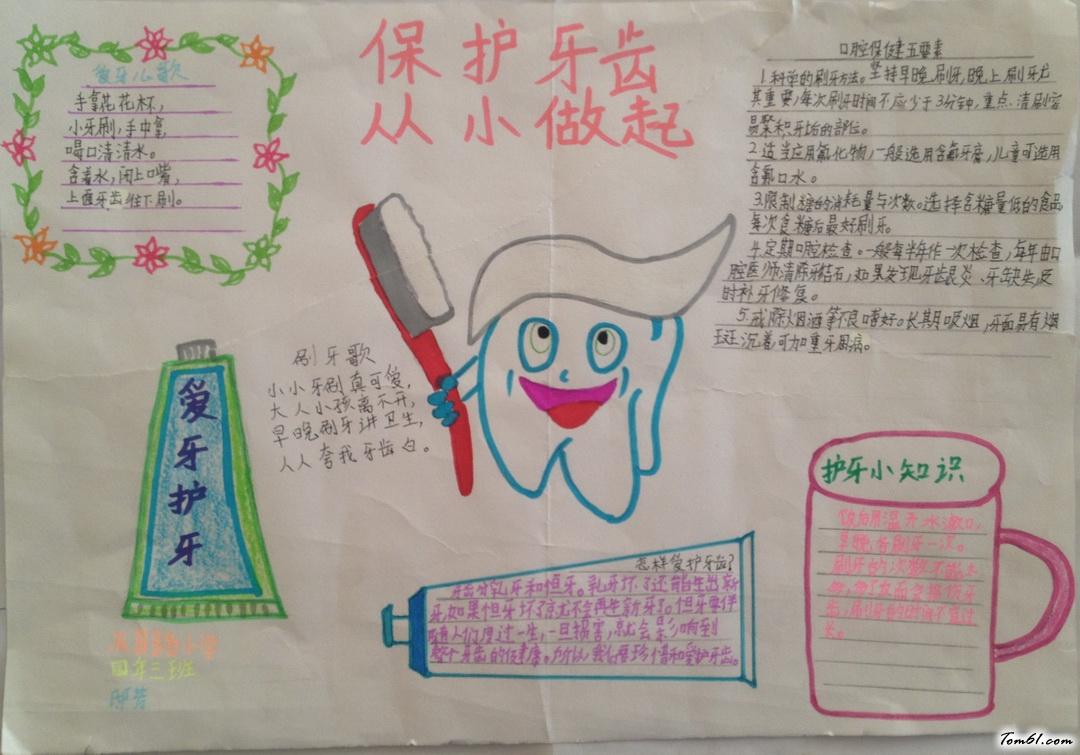 爱牙护牙手抄报版面设计图3