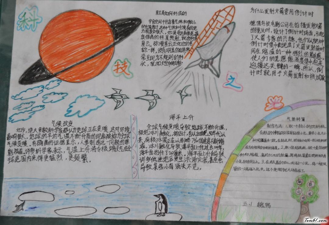小学五年级科技之光手抄报版面设计图