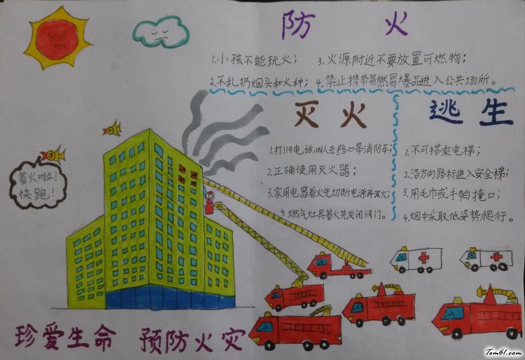 珍爱生命预防火灾手抄报版面设计图