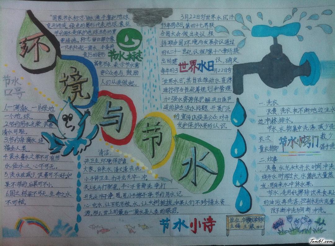 环境与节水手抄报版面设计图_手抄报大全_手工制作