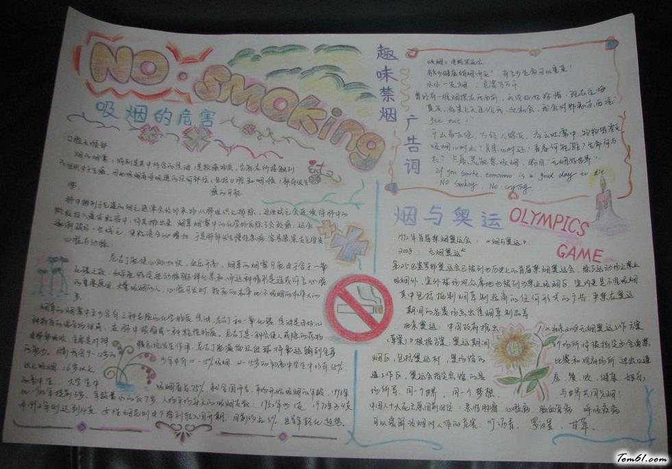 禁烟的手抄报版面设计图