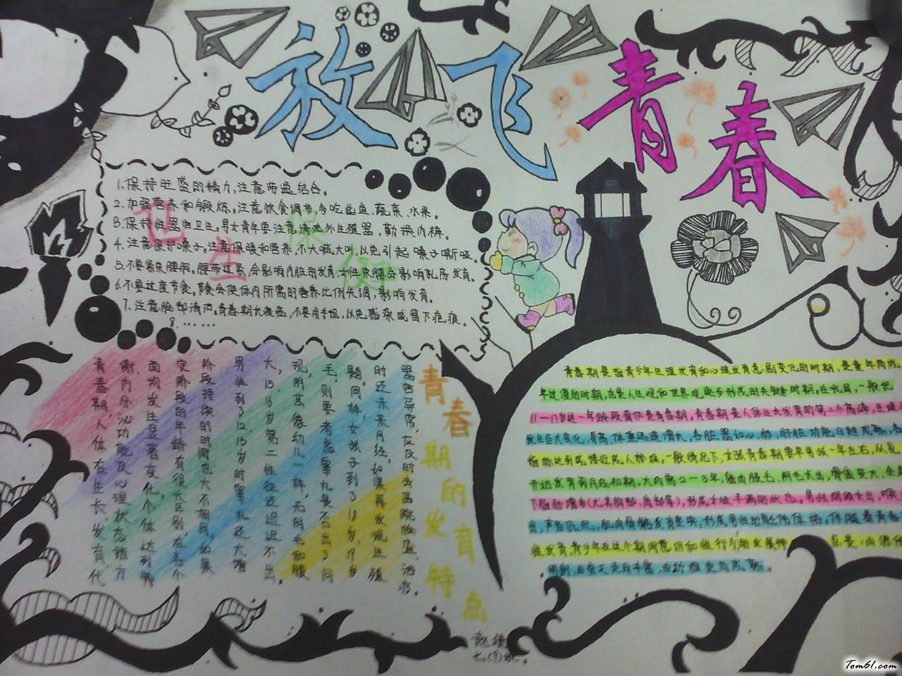 青春理想主题手抄报版面设计图图片