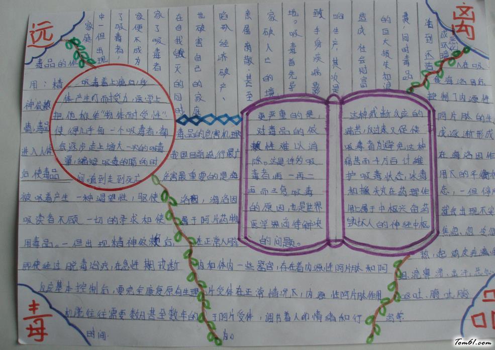 小学生禁毒宣传手抄报版面设计图