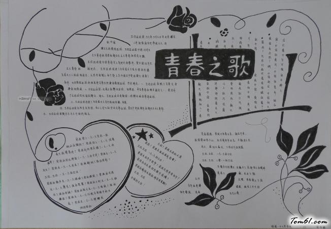 青春之歌五四青年节黑白手抄报版面设计图2图片