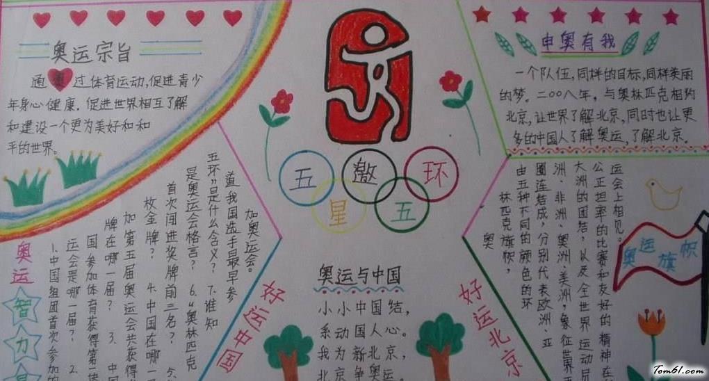 小学生奥运会手抄报版面设计图